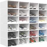 HOMIDEC 24 pcs Cajas de Zapatos, Cajas de Almacenamiento de Zapatos de Plástico Transparente Apilables, Contenedores Organizadores de Zapatos con tapas para Mujeres / Hombres (33x23x14cm)