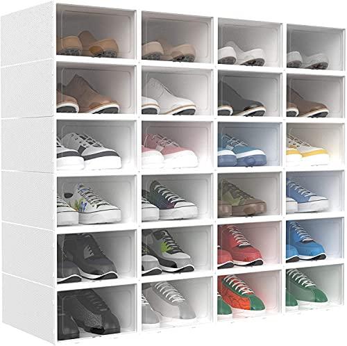 HOMIDEC 24pcs Boîtes à chaussures,boîtes de rangement pour chaussures en plastique transparent empilables,conteneurs pour organisateur de chaussures avec couvercles pour femmes/hommes (33x23x14cm)