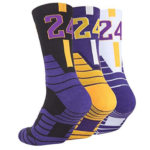 Men's Athletic Socks Cotton Outdoor Sport Basketball Socks Mid-Calf Compression Breathable Crew Socks for Women