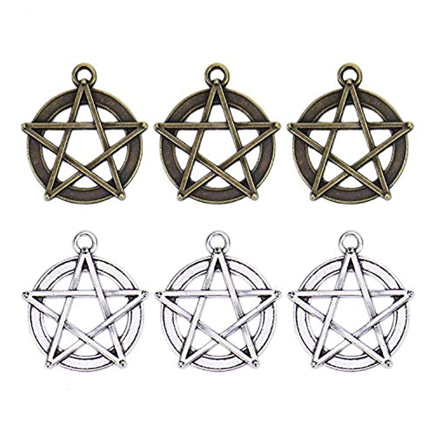 Monrocco 40 Pieces Magic Pentacle Star Protection Lucky Star Charms Pendants for Crafting, Jewelry Findings Making Accessory for DIY Necklace Bracelet