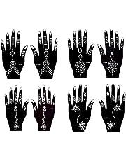 Actie ! Henna Tattoo sjablonen 8 stuks set voor eenmalig gebruik voor handen ook geschikt voor Glitter Tattoo en Air Brush Tattoo Set Jaiya