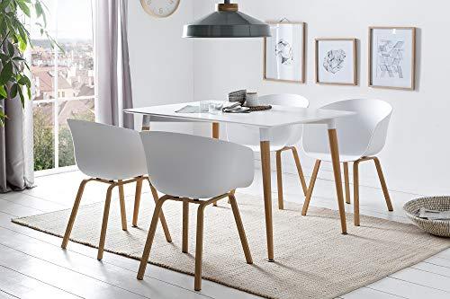 SalesFever Esszimmer-Tisch Ainara | 120 x 80 cm | 18 mm Tischplatte in Matt-Weiß | Gestell Metall in Holz-Optik | Esstisch im puristischen Design