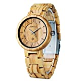 Women's Wood Watches, BEWELL Handmade Olive Wrist Watch with Simple Classic Dial Adjustable Wooden Band