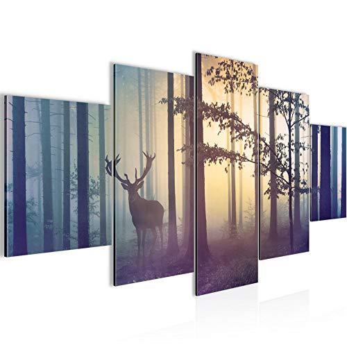 Bilder Wald Hirsch Wandbild 200 x 100 cm Vlies - Leinwand Bild XXL Format Wandbilder Wohnzimmer Wohnung Deko Kunstdrucke Blau 5 Teilig - MADE IN GERMANY - Fertig zum Aufhängen 013451a