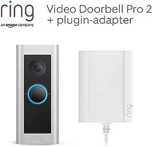Vi presenterar Ring Video Doorbell Pro 2 med plugin-adapter från Amazon | HD Head to Toe-video, rörelseidentifiering i 3D, 30 dagars kostnadsfri provperiod av Ring Protect-abonnemang