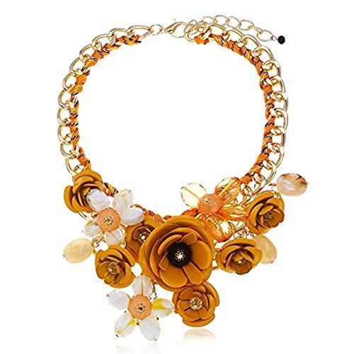 truecharms Fashion Joyas Partido declaración Flor de Cristal Collar y Pendientes Set