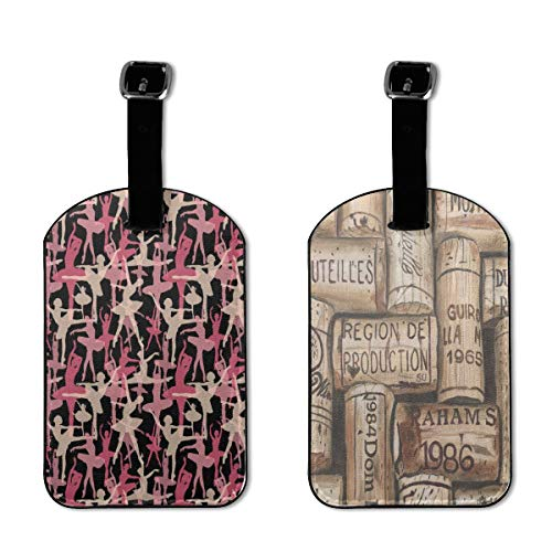 Custom Luggage Tags Wine Corks Suitcase Labels Tag - 2 Pcs
