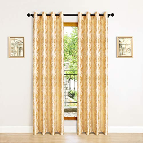 """ELKCA Jacquard Luxury Gold Curtains Drapes Window Curtains for Living Room Bedroom Curtain Grommet Top-2 Panles (Damask-Golden, 52"""" W x 84"""" L)"""