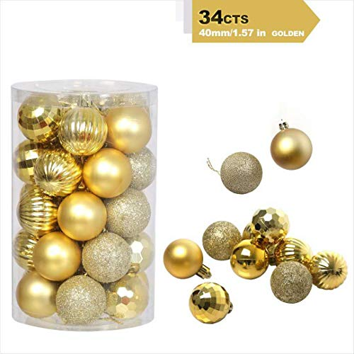 Christmas Ball Ornaments 6 Style Plastic Shatterproof Christmas Decorations Perfect Christmas Hanging Ball Baubles Set for Xmas Tree Weddeing Party Décor Hooks Included (1.57'/40mm Gold)