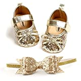 Baby Girls Mary Jane Flats with Bowknot Headband Infant Princess Dress Soft Sole Crib Shoes Non-Slip for Toddler First Walkers