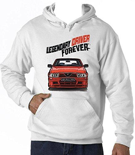TEESANDENGINES Alfa Romeo 75 Legendary Driver Felpa con Cappuccio di Cotone T-Shirt Size Large