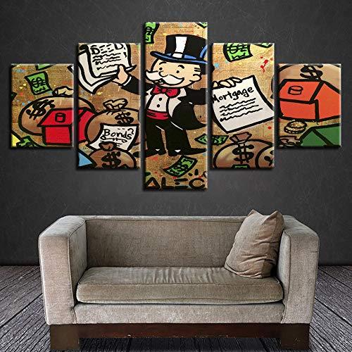YFQEGM Póster Modular Impreso en HD, 5 Piezas, Bolsa de Dinero para Hombre de Dibujos Animados y Pintura de Letras, decoración artística, Cuadro de Pared para Sala de Estar