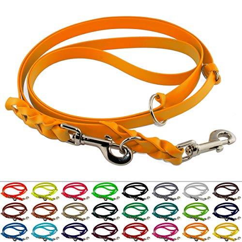 LENNIE Mehrfach verstellbare BioThane Führleine, 9mm breit, 3m lang, Pastell-Orange, geflochten, Doppelleine