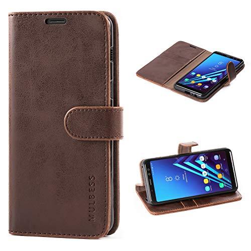 Mulbess Handyhülle für Samsung Galaxy A8 2018 Hülle, Leder Flip Hülle Schutzhülle für Samsung Galaxy A8 2018 Tasche, Vintage Braun