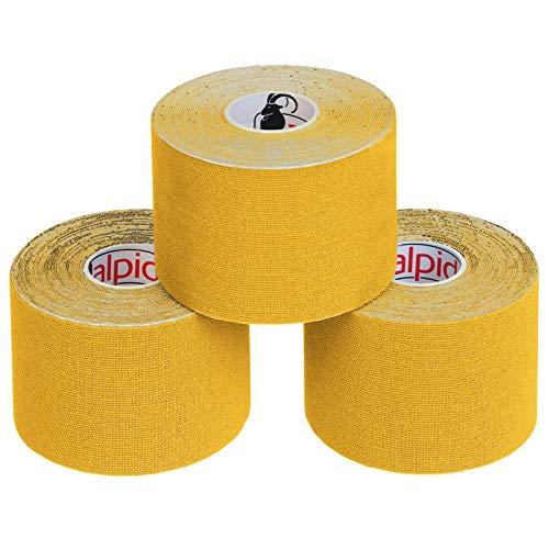 BB Sport 3 Rollen Kinesiologie Tape 5 cm x 5 m E-Book Anwendungsbroschüre Elastisches Tape Set, Farbe:gelb