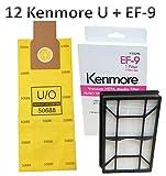 Casa Vacuums Replacement Kit for Kenmore Elite 31150 BU1018. 12 Style U Allergen Bags 50688 + 1 Sears Kenmore EF-9 Filter 53296. Kenmore Elite 31150 Bag and Filter Supply Kit.