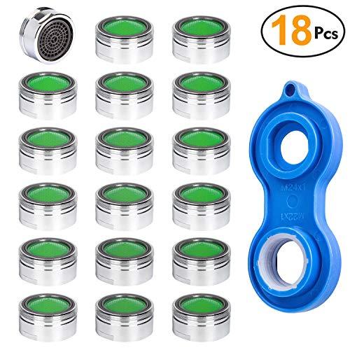 ZITFRI 18 Stück Strahlregler M24 Luftsprudler für Wasserhahn sieb Einsatz Mischdüse mit ABS-Filter inkl. Mischdüsenschlüssel, Strahlregler aus Hochwertigem Messing verchromtes Gehäuse mit ABS-Filter