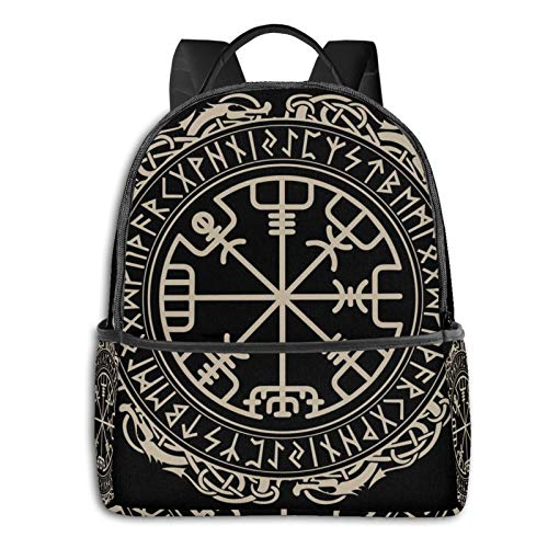 Unisex Backpack Multipurpose Rucksack Backpacks Big Capacity Backpack Black Celtic Viking Design Magical Runic Compass Vegvisir In The Circle Of Norse Runes And Dragons Tattoo Decorative
