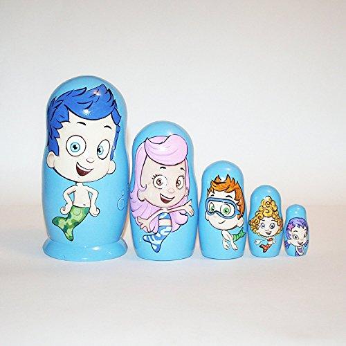 Collectible Nistkasten Puppen Bubble Guppies Matrjoschka Russische Puppe unterzeichnet Handbemalt