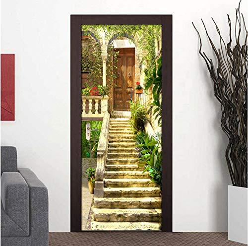 Door Stickers 3D Door Garden Stone Stair Moving Room Flower PVC Self-Adhesive Wallpaper Door Mural 77cm x 200cm