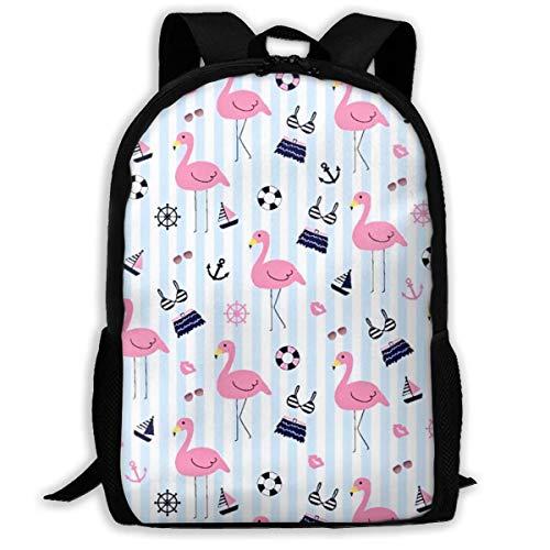 wobuzhidaoshamingzi School Rugzak De Flamingo Blauw Badpak Boekentas Casual Reistas Voor Tiener Jongens Meisjes