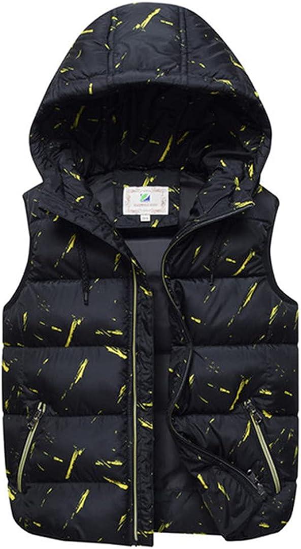 GHURFNP Winter Big Kids Vests Hooded Children's Thick Warm Down Cotton Outwear