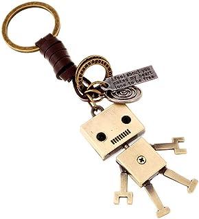本革レザー 合金 キーリング チャーム 可愛い ロボット 本革 キーホルダー 革ひも 鍵揃い レトロ風 小物 バッグアクセサリー キーチェーン 男女兼用 贈り物 ギフト用