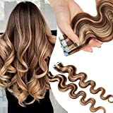 Extensiones Adhesivas Rizadas Pelo Natural Cabello Humano Balayage 2.5g 20 Piezas 50g Ondulada Body Wave Tape in 100% Remy Human Hair - 16 Pulgada 40CM #12/613 Castaño Rubio