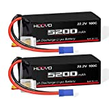 HOOVO 6S Lipo Battery 22.2V 100C 5200mAh with EC5 Connector for RC Car Truck Truggy Buggy Tank RC Airplane Helicopter Boat Car Racing (2 Pack)