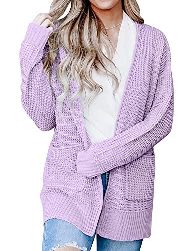 ZESICA Women's Long Sleeve Open Front Waffle Knit Sweater Cardigans Coat Outwear with Pockets Lavender
