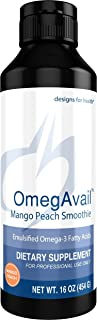 Designs for Health OmegAvail Smoothie - Mango Peach TG Fish Oil Emulsion, Triglyceride Fish Oil (43 Servings / 16oz)