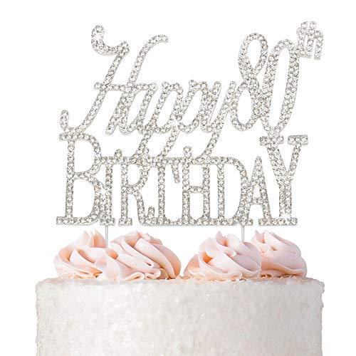 Happy 80th Birthday Rhinestone Cake Topper - Silver