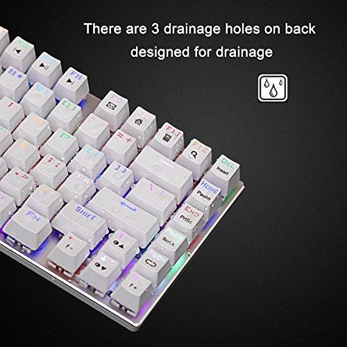 Z88 Mini Mechanische Tastatur, RGB Beleuchtung Rote Schalter Kompakt 81-Tasten, US-Layout Gaming Keyboard, Weiß (QWERTY)