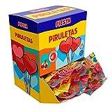 FIESTA Piruletas Caramelo con Palo en Forma de Corazón Sabor Cereza - Caja de 20 unidades