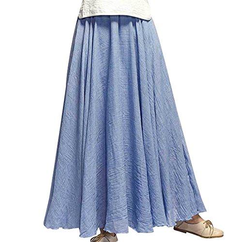 Kafeimali Women Bohemian Cotton Linen Double Layer Elastic Waist Long Maxi Skirt (NZBL, 95CM-Length)