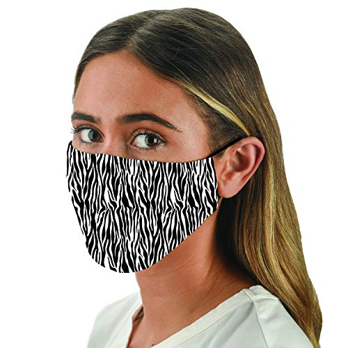 Snoozies Face Masks - 1 Cloth Face Mask - Washable Fabric Face Mask Reusable with Filter Pocket - Adjustable Ear Loops - Resealable Pouch - 4 Disposable Filters Included - Zebra