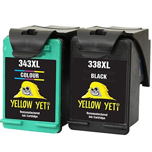 Yellow Yeti Rigenerate 338 343 Cartucce d'Inchiostro Nero/Colore per HP Photosmart 2575 2610 2710 8150 8450 8750 C3180 DeskJet 460c 5740 6540 6620 6840 9800 PSC 1610 2355 Officejet 100 150 6210 H470