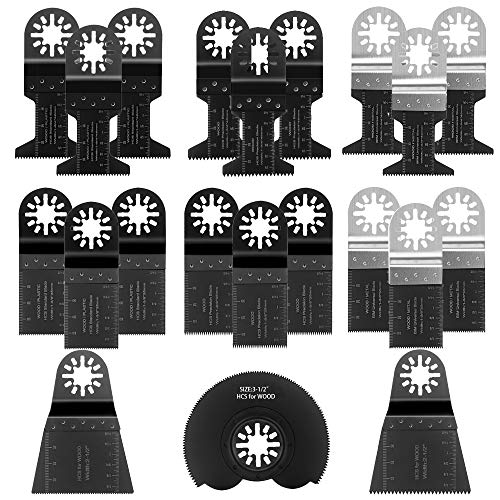Sägeblätter Set, Preciva 21 tlg Sägeblätter Kit Mix Klingen Multitool Holzsägeblätter Oszillierwerkzeug-Zubehör für Milwaukee, Bosch, Dremel usw.