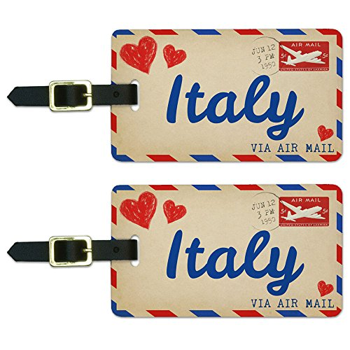 Graphics & More Air Mail Postcard Love for Italy Luggage Suitcase Carry-on Id Tags, White