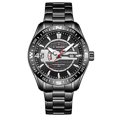 Reloj de Cuarzo para Hombre Reloj Calendario Masculino Reloj con Correa de Cuero para Caballero -C
