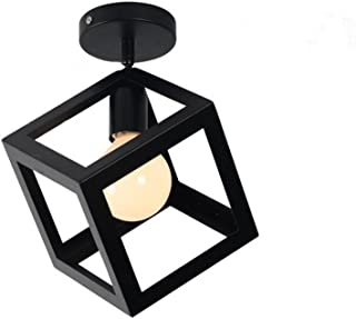 ECOBRT Modern Kitchen Ceiling Lights,Black Square Metal Cube Ceiling Light Fixtures for Indoor Bedroom Flush Mount Lights in Living Room E26 Bulb Excluded