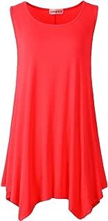 Lanmo Women Plus Size Solid Basic Flowy Tank Tops Summer Sleeveless Tunic (L, Red)