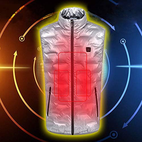 SONNIGPLUS Heizweste für Herren, Beheizte Weste, USB-Lade Heizweste für Herren, Daunen Baumwolle Jacke, Warme Heat Jacke, Winter Warme Beheizbare Kleidung, für Outdoor Motorsport Skifahren,Silver-L