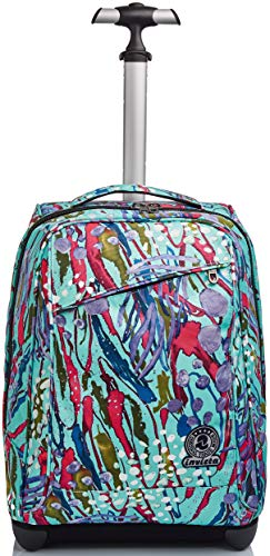 Trolley Invicta , Abstract Jungle, Blu, 2 in 1 con Spallacci per uso Zaino
