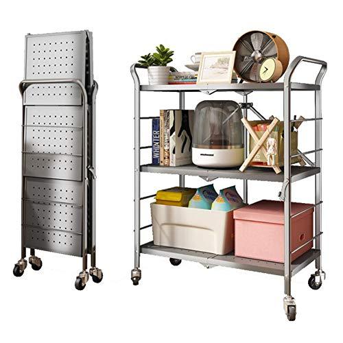 DALL Carrito de almacenamiento con ruedas, estante de almacenamiento plegable de acero, no requiere montaje, estantería de 3 capas, apto para cocina y baño, 69 x 38,5 x 86,5 cm.