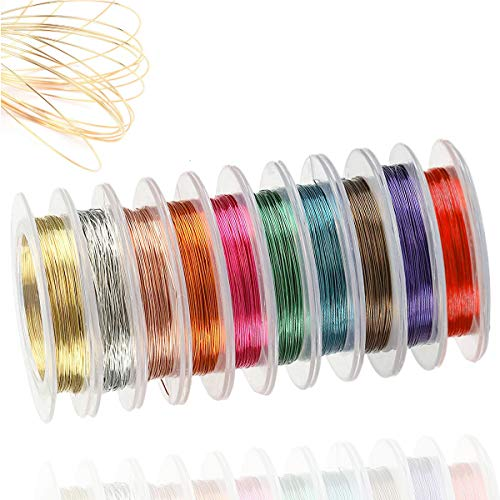 EPHIIONIY Alambre de cobre para joyas, 10 rollos de alambre de 0,3 mm, color lacado, alambre de perlas resistente al deslustre, para manualidades, perlas y fabricación de joyas