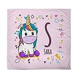 LolaPix Manta Unicornio para Bebe Personalizada con Nombre. Regalo Bebé Recién Nacido. Tejido Polar Poliéster. Varios Diseños a Elegir. Unicornio