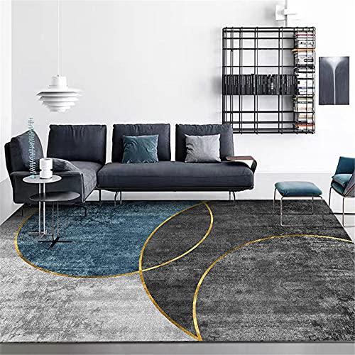 AU-SHTANG alfombras Dormitorio Alfombra Gris y Azul, sin Levantamiento a Prueba de Humedad fácil de Limpiar sofá Alfombra Alfombra baño Antideslizante -Gris Negro_100x160cm
