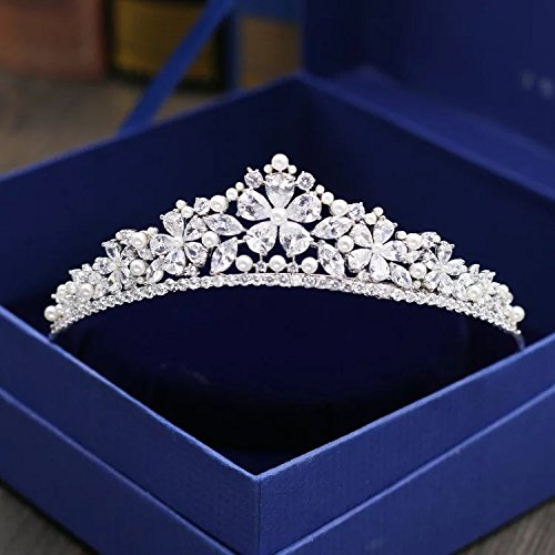 Star Wild Flower CrownCrystal Zircon Tiara Hair Comb Bridal Pageant Party Gift for Girls