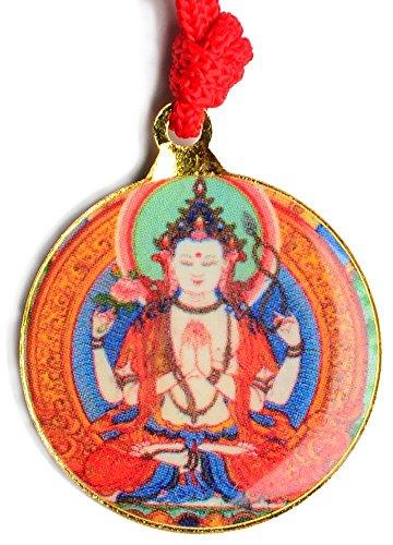 BUDDHAFIGUREN/Billy Held Schutzamulett Buddha Anhänger Chenresig mit Kalachakra